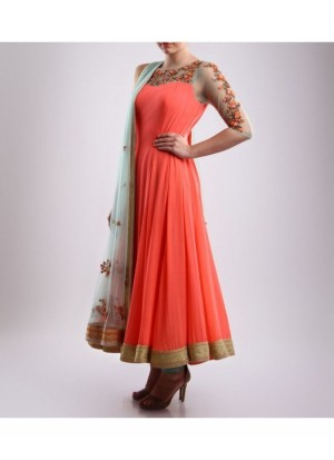 Buy Rozdeal Dazzling Orange Semi Stitched Anarkali suit Online