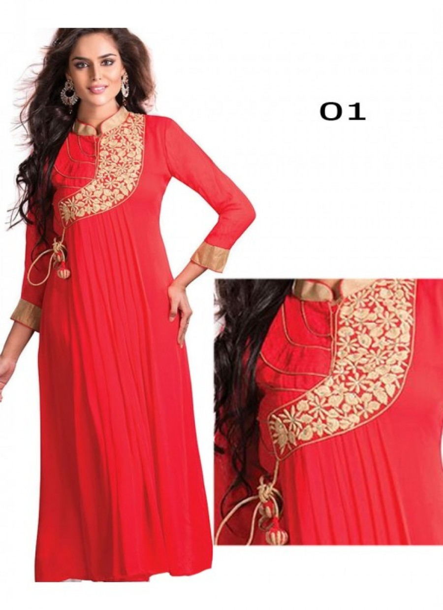 Buy Rozdeal Fancy Red Embroidred Designer Kurti Online