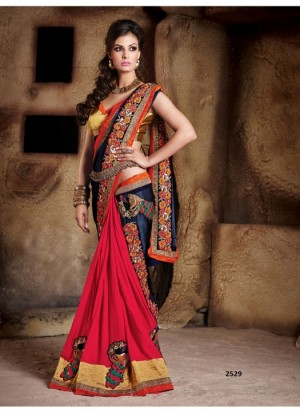Buy Rozdeal Navy Blue With Maroon Half Half Designer Saree Online