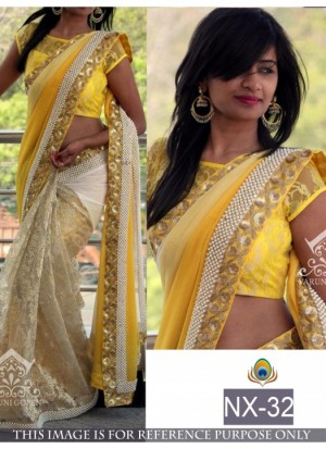 Buy Rozdeal Pretty Yellow Half And Half Saree Buy Online Online