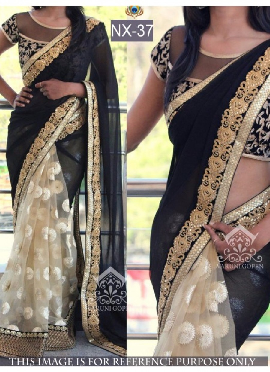Buy Rozdeal Fabulous Black And Cream Color Half Half Saree Online