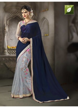 Buy Rozdeal Amazing Navy Blue Half N Half Saree Online