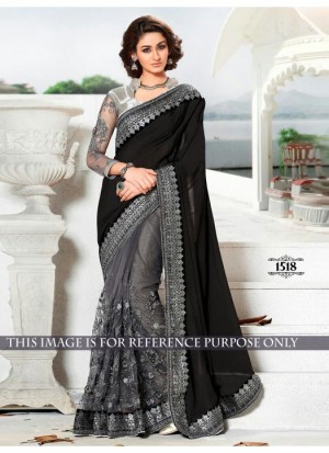 Buy Rozdeal Grey And Black Half N Half Party Wear Saree Online