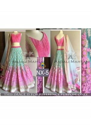 Buy Rozdeal Fabulous Pink And Sky Blue Color Lehenga Choli Online