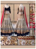 Rozdeal Stylish Cream And Black Jequerd Lehenga Choli