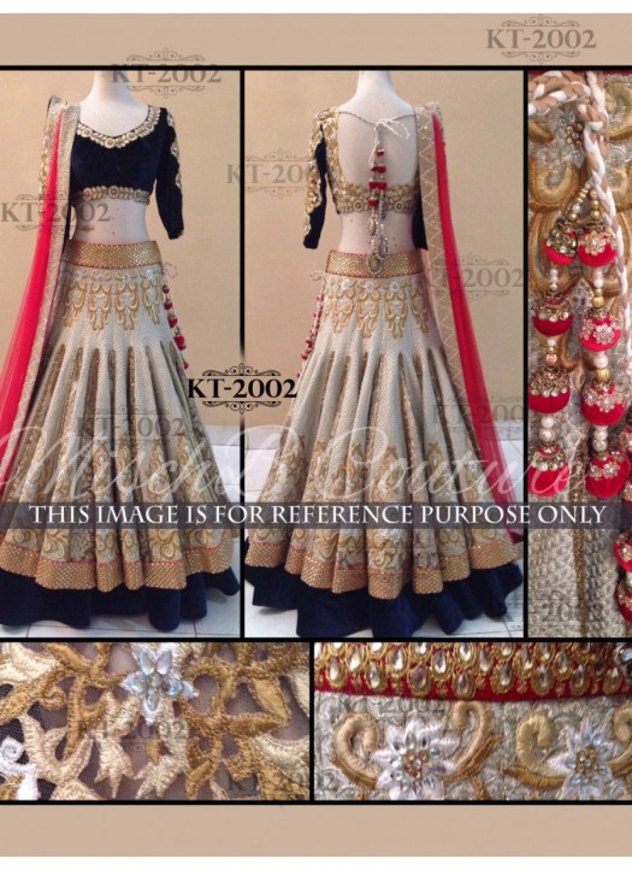 Buy Rozdeal Stylish Cream And Black Jequerd Lehenga Choli Online