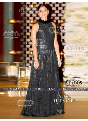 Buy Rozdeal Bold Black Color Net Long Gown Online