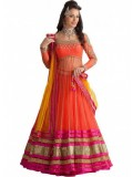 Rozdeal Fabulous Orange And Pink Designer Lehenga Choli
