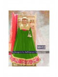 Rozdeal Green And Peach Designer Georgette Lehenga Choli