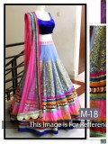 Rozdeal Shop For Pink And Dark Blue Net Embroidered Bridal Lehenga Choli