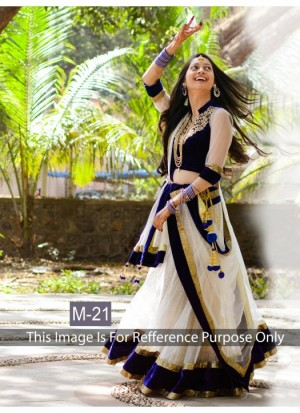Buy Rozdeal Off White And Blue Printed Bridal Lehenga Choli Online