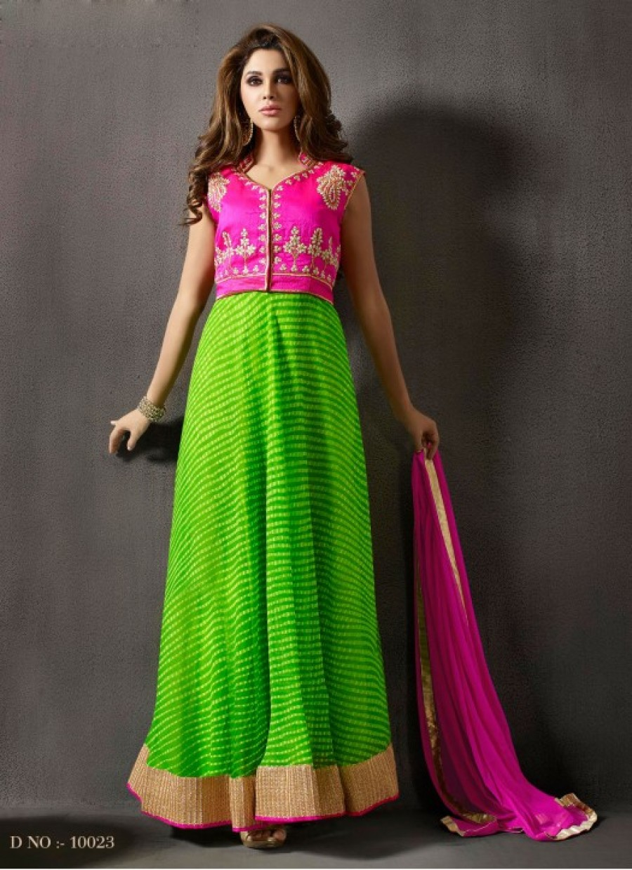 Buy Rozdeal Beautiful Perot Green And Pink Anarkali Suit Online