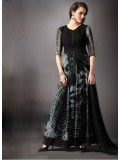 Rozdeal New Grey And Black Georgette Anarkali Suit
