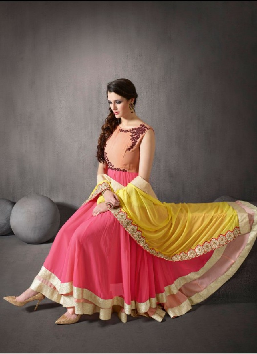 Buy Rozdeal New Georgette Double Flair Anarkali Suit Online