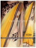 Rozdeal Letest New Yellow And Cream Georgette Designer Saree