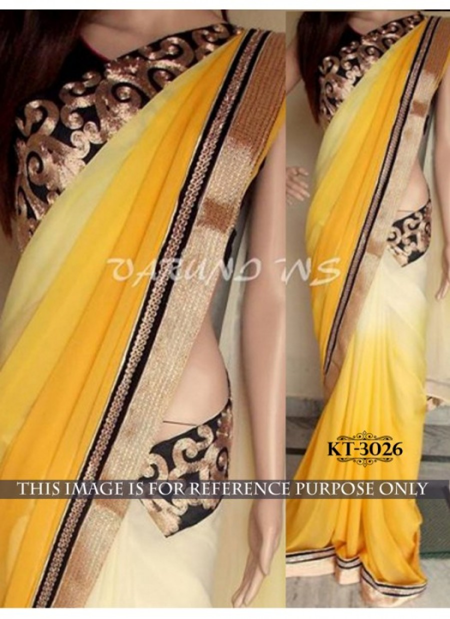 Buy Rozdeal Letest New Yellow And Cream Georgette Designer Saree Online