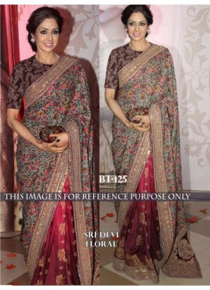 Buy Rozdeal New Maroon Foile Silk Georgette Bollywood Saree Online
