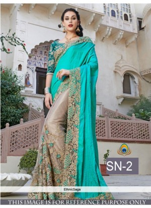 Buy Rozdeal Stylish Sky Blue Color Half N Half Designer Saree Online