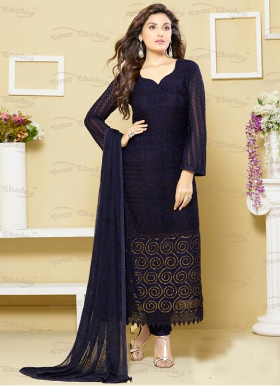 564715c950 Purchase Online |Rozdeal New Navy Blue Color Designer Dress Material ...