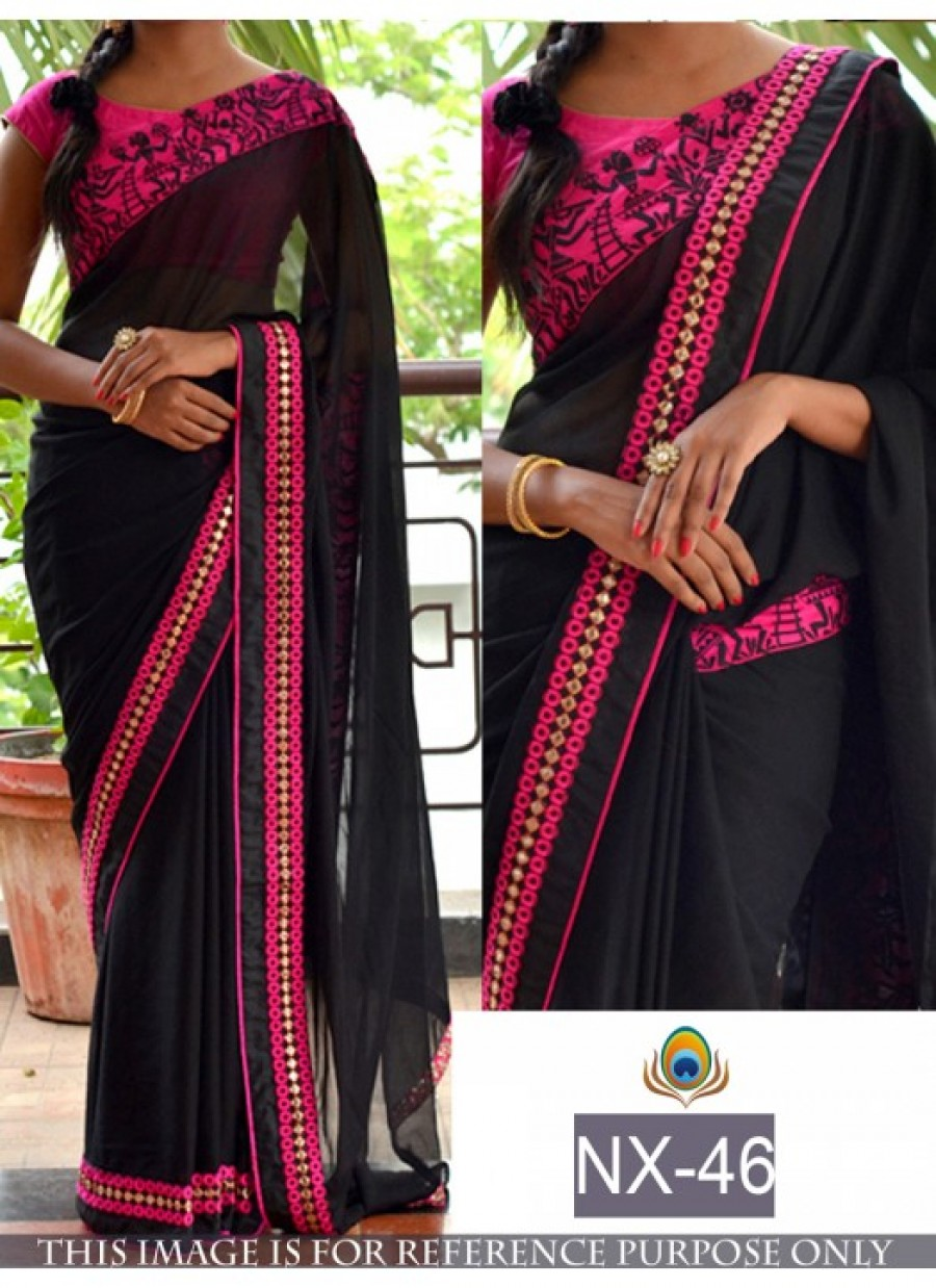 e76b86a6afc4fb Online Shopping Rozdeal Fabulous Black And pink Color Saree | 547582