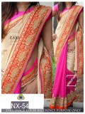 Rozdeal Wonderful Cream And PinkColor Designer Saree