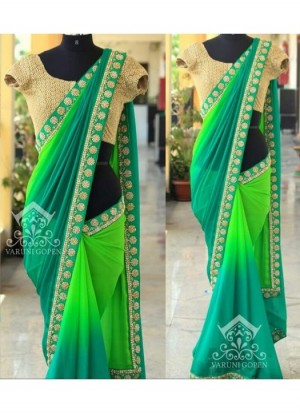 Buy Rozdeal New Multi Color Half And Half Padding Georgette Saree Online
