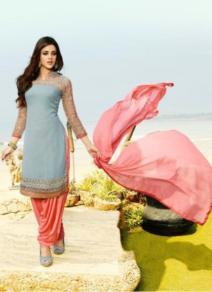 Buy Rozdeal New Light Sky andCoral Georgette Designer Patiala Suit Online