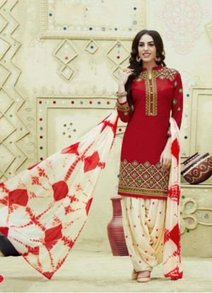 0e9df4a3ea Rozdeal New Red And White Fancy Cotton Patiyala Suit