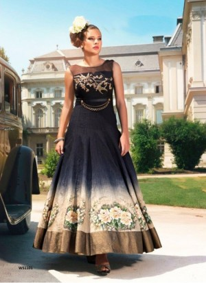 Buy Rozdeal New Black Banglori Print Designer Long Gown Online