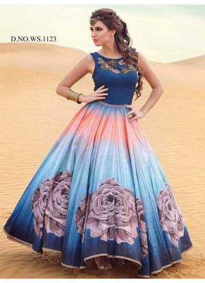 Buy Rozdeal New Blue andSky Shaded Banglori Silk With Satin Designer Gown Online