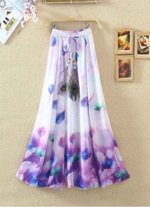 Buy Rozdeal New White and  Purple Colour Digital Printed Womens Fancy Skirt Online