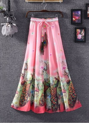 Buy Rozdeal Pink Colour Faux Georgette Womens Skirt Online
