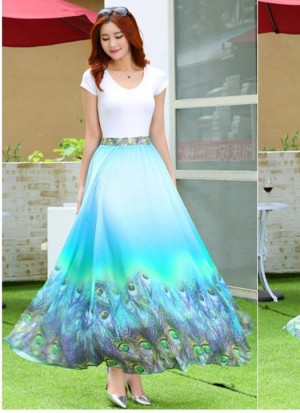 Buy Rozdeal New Latest Sky Blue Colour Digital Printed Womens Fancy Skirt Online