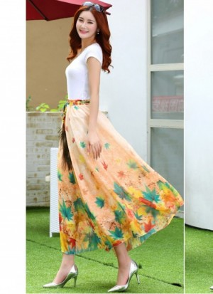 Buy  Rozdeal Latest Peach Colour Digital Printed Womens Fancy Skirt Online