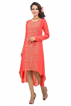 Buy Georgette Embroidery Kurti in Orange Colour Online