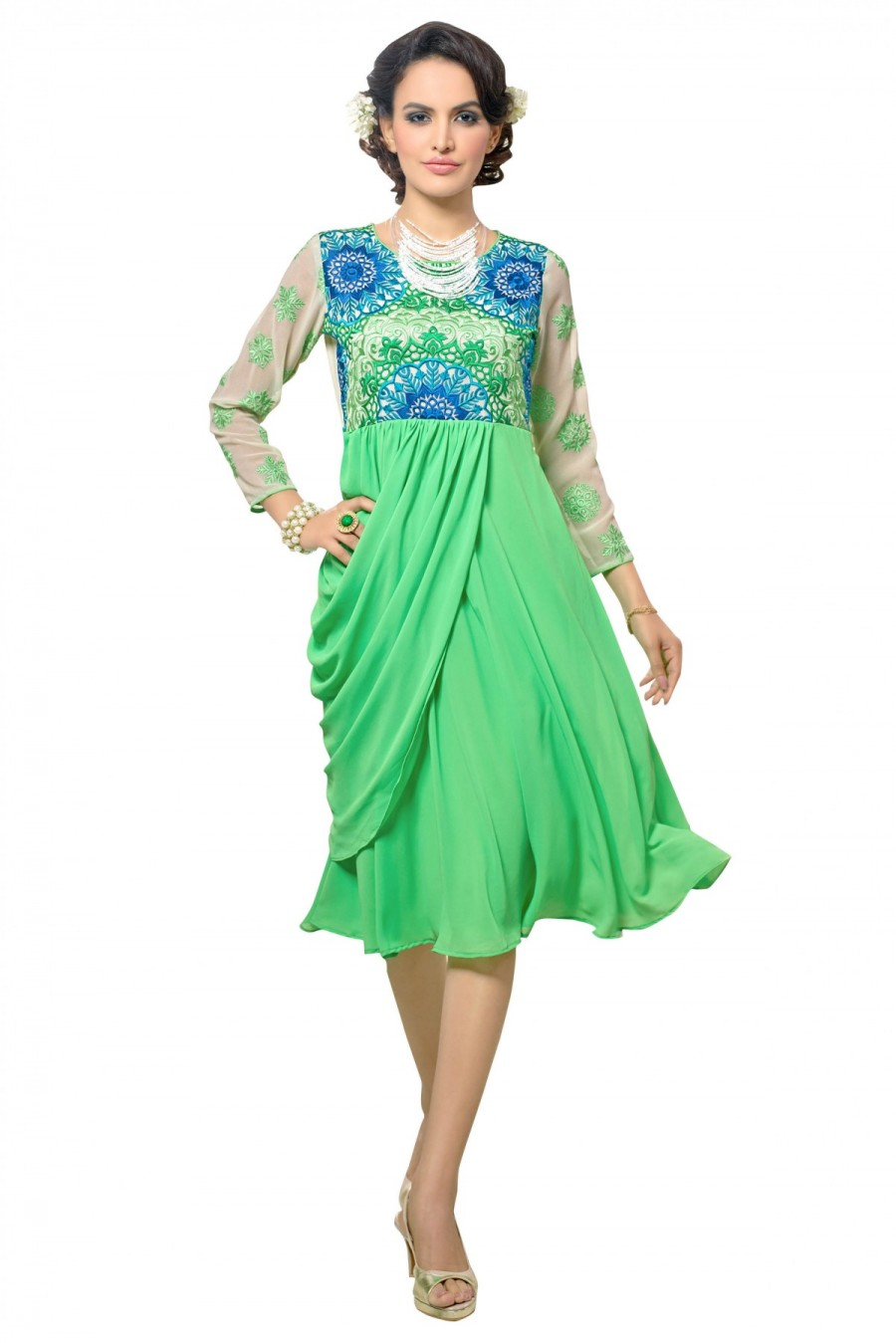 6c61be1f4f Pick Online | Georgette Embroidery Kurti in Green Colour | 547836
