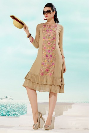 Buy Georgette Party Wear Kurti in Beige Colour Online