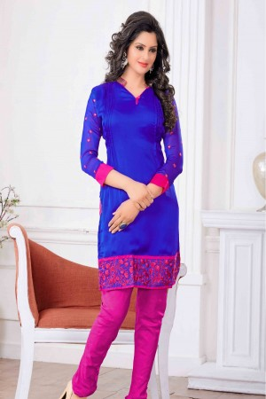 Buy Faux Chiffon Party Wear Kurti in Blue Colour Online