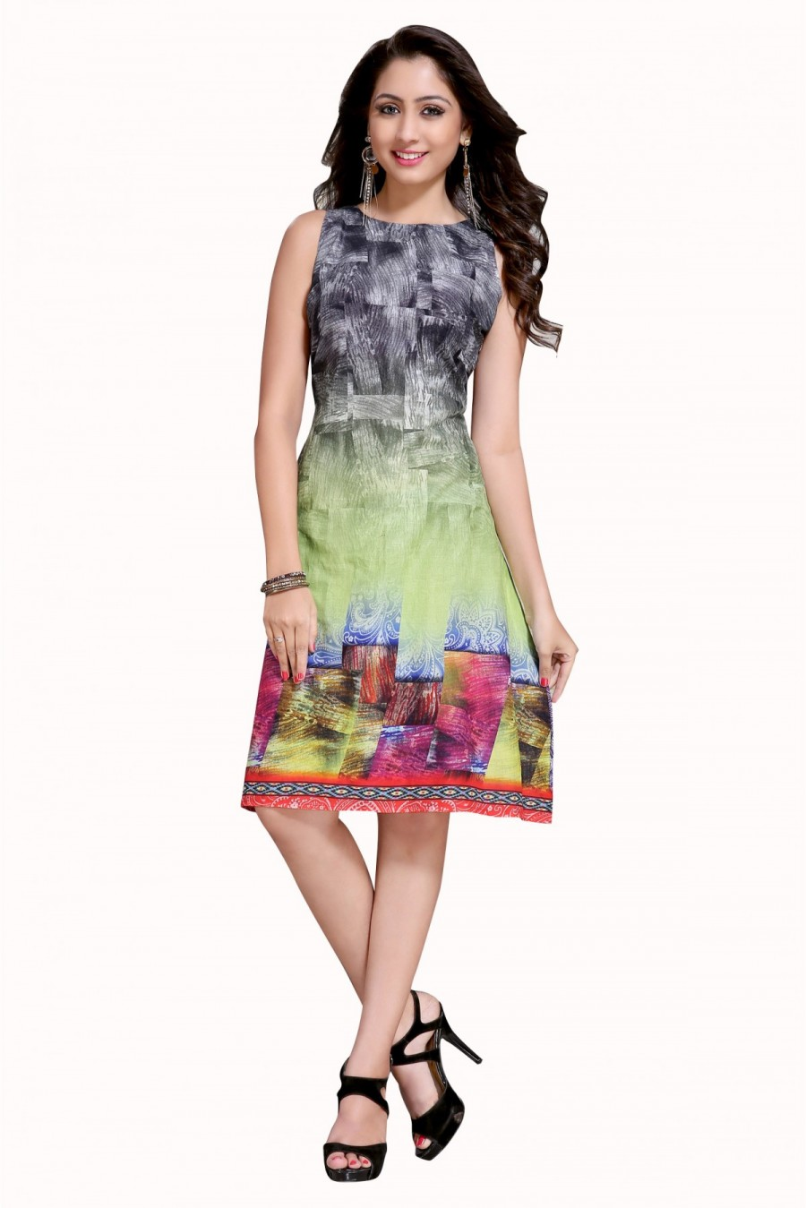55d719b058666 Buy Casual Wear Cotton Printed Kurti in Grey and Green Colour   547940