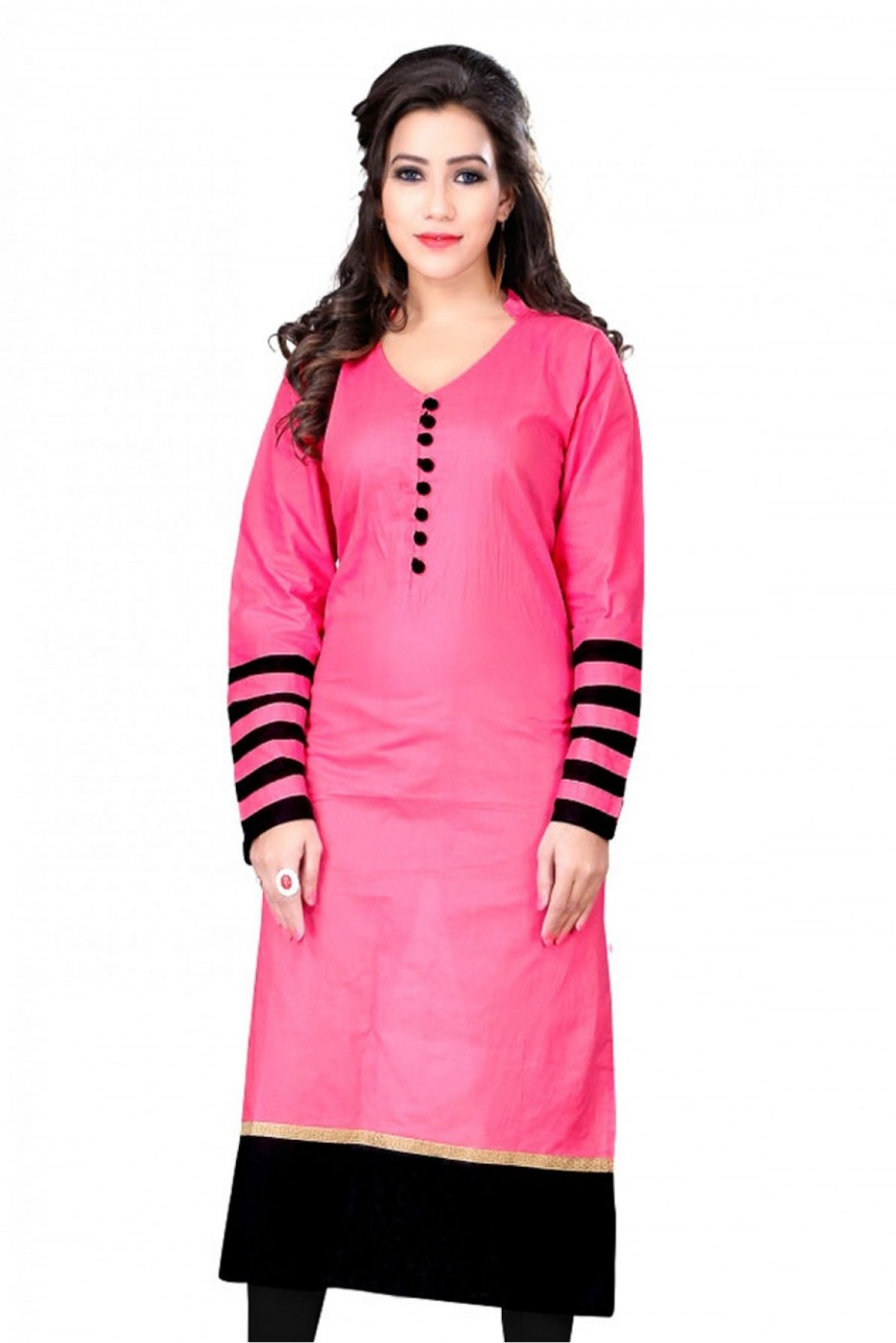 Buy Cotton Casual Wear Plain Kurti in Pink Colour Online