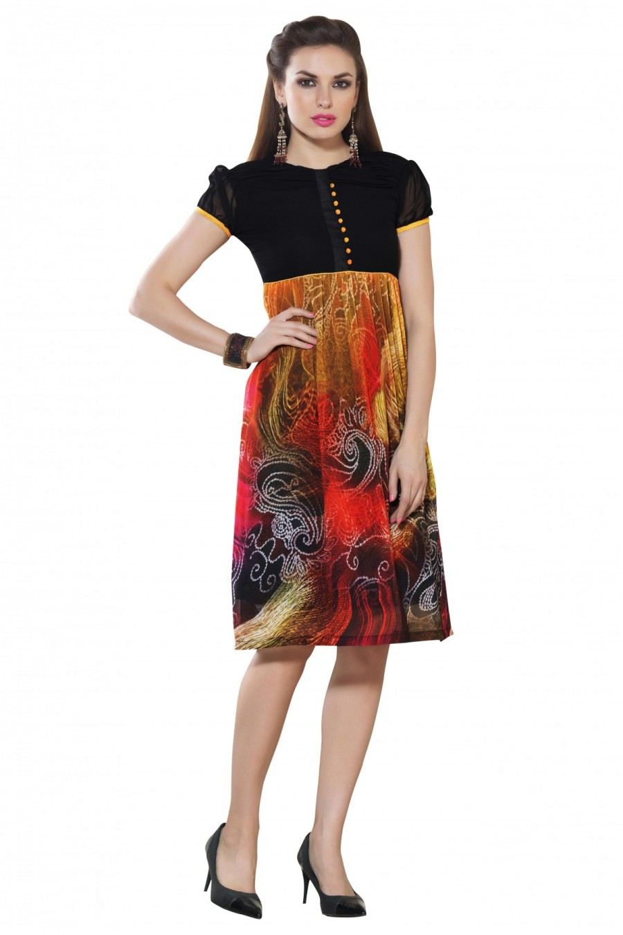 c097807e0c Buy Faux Georgette Printed Party Wear Kurti In Black and Red Colour Online