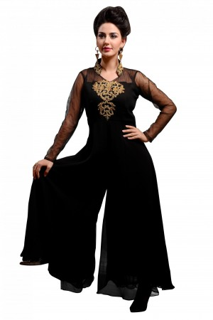Buy Georgette Designer Kurti in Black Colour Online