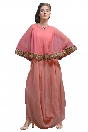 Buy Georgette and Net Designer Kurti in Peach and Pink Colour Online
