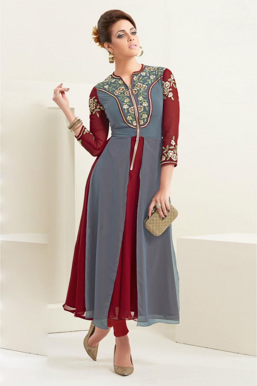 Buy 60 GM Georgette Party Wear Kurti In Grey And Maroon Colour Online