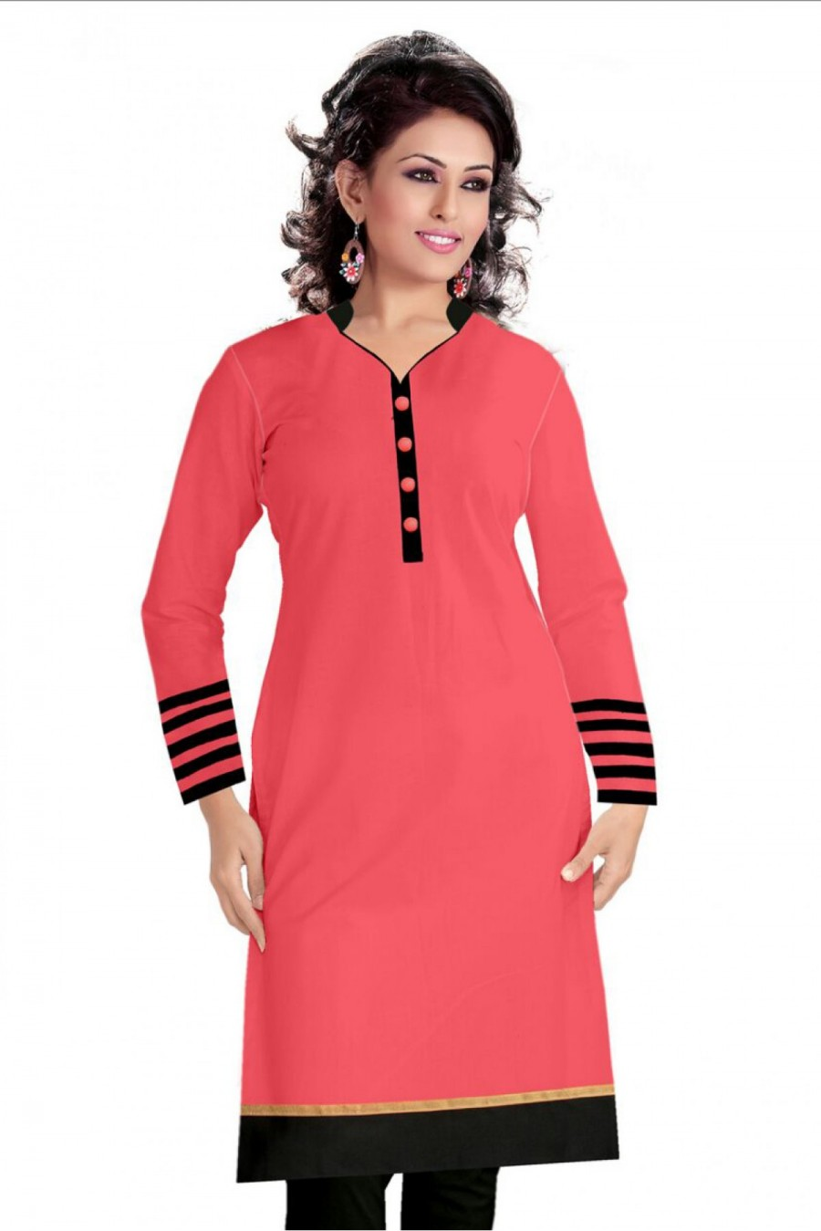 Buy Cotton Casual Wear Kurti In Pink Colour Online