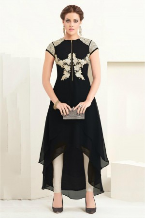 Buy 60 GM Georgette Party Wear Kurti In Black And Beige Colour Online