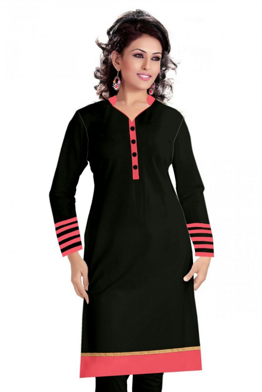 Buy Cotton Casual Wear Kurti In Black Colour Online