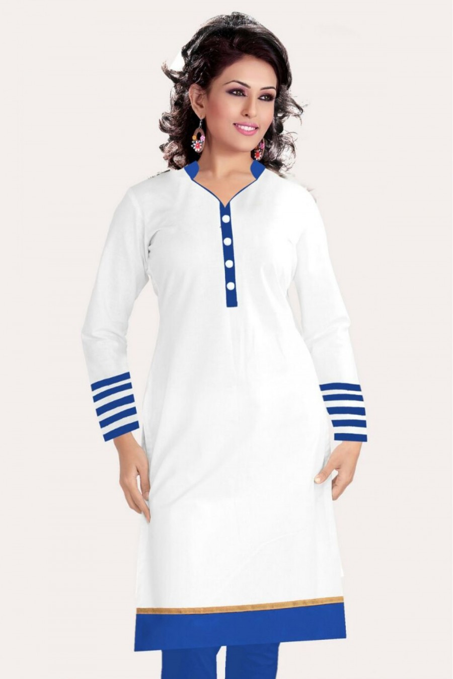Buy Cotton Casual Wear Kurti In White Colour Online