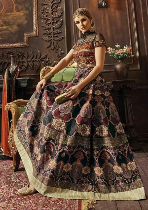 Buy Black Banarasi Silk Churidar Anarkali Suit With Dupatta  Online