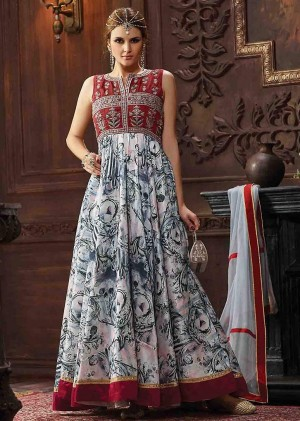 Buy Grey Banarasi Silk Churidar Anarkali Suit With Dupatta  Online